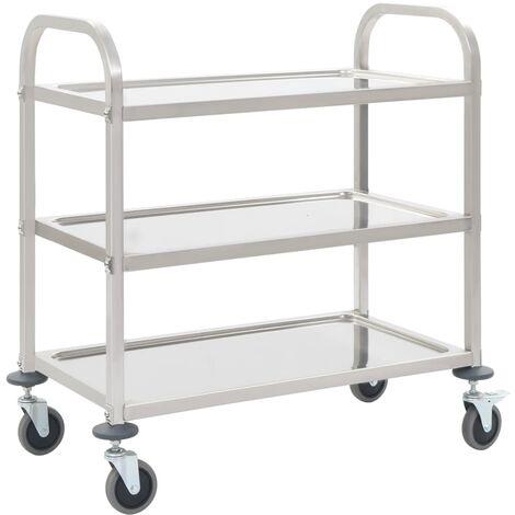 3-Tier Kitchen Trolley 87x45x83.5 cm Stainless Steel