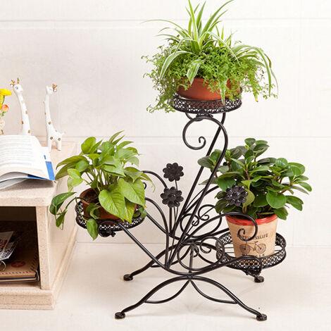 3 Tier Metal Flower Rack Plant Shelf Outdoor Garden Plant Stand
