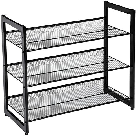 3 Tier Metal Mesh Shelves Flat or Angled Mount Shoe Rack Shoe Rack Storage Stackable for 9 to 12 Pairs Blue/Black/Grey