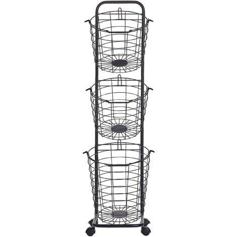 3 Tier Metal Wire Basket Stand Black AYAPAL