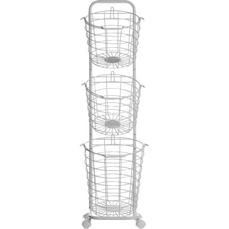 3 Tier Metal Wire Basket Stand White AYAPAL