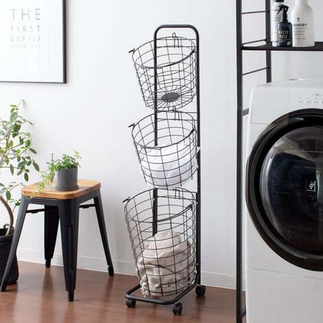 3 Tier Metal Wire Washing Laundry Basket Rolling Cart Hamper Clothes Storage