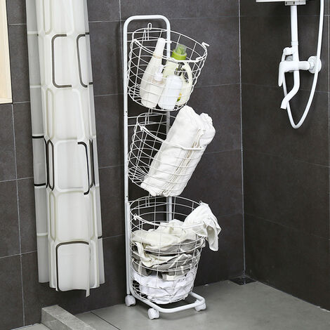 3 Tier Metal Wire Washing Laundry Basket Rolling Cart Hamper Clothes Storage White