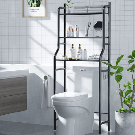 3 Tier Over the Toilet Bathroom Storage Space Saver Shelving Towel Holder Stand, Black