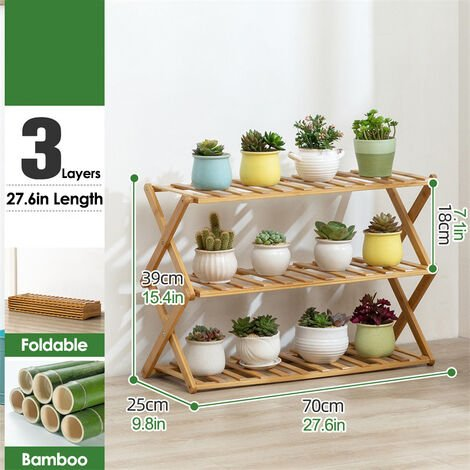 3 Tier Plant Shelf 70cm Bamboo Plant Holder Home Flower Display Stand
