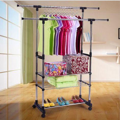 3 Tier Portable Double Rolling Rail Adjustable Clothes Garment Rack Hanger