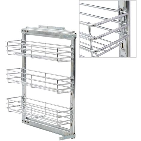 3-Tier Pull-out Kitchen Wire Basket Silver 47x15x56 cm - Silver