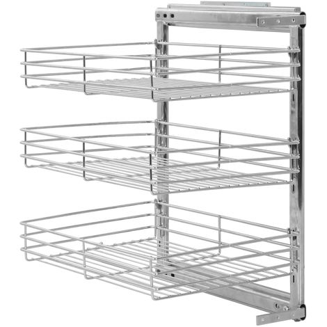 3-Tier Pull-out Kitchen Wire Basket Silver 47x35x56 cm