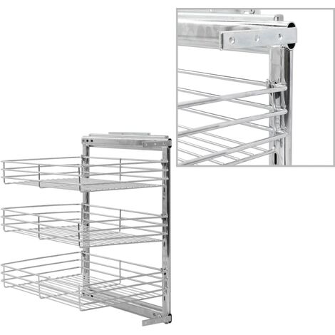 3-Tier Pull-out Kitchen Wire Basket Silver 47x35x56 cm - Silver