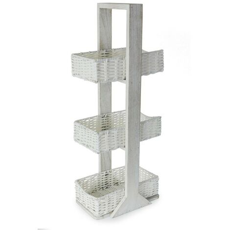 3 Tier PVC Wicker Caddy - White