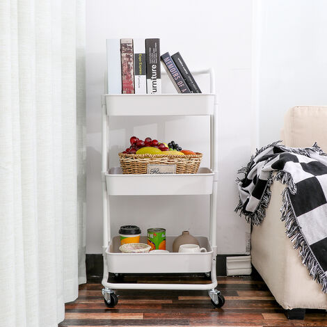 3 Tier Rolling Cart Storage Shelf, 4 Wheel Bathroom Kitchen
