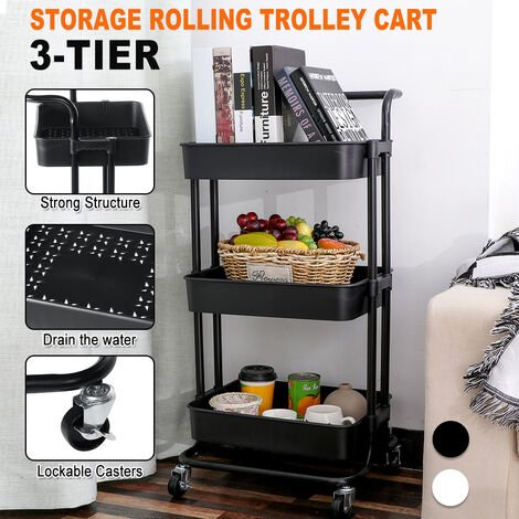 3 Tier Rolling Cart Storage Shelf, 4 Wheel Kitchen (Black)