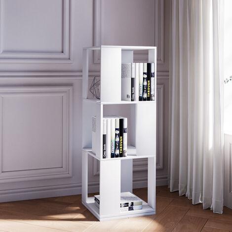 3-Tier Rotating Wood Bookshelf Open Bookcase Storage Shelf Display Rack White