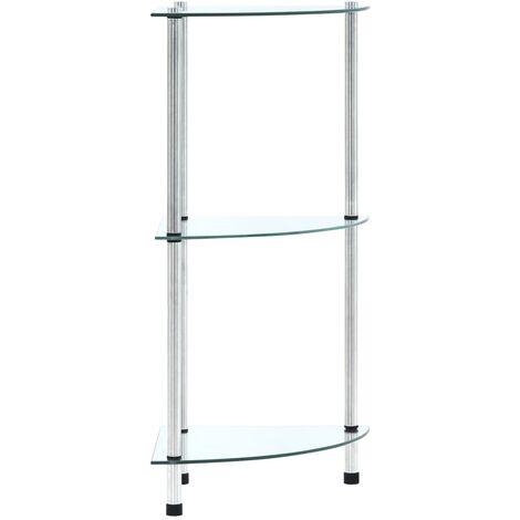 3-Tier Shelf Transparent 30x30x67 cm Tempered Glass