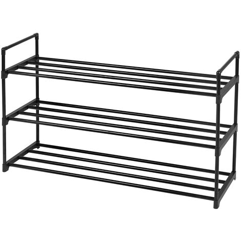 """3-Tier Shoe Rack, Metal Storage Shelves Hold up to 15 Pairs for Living Room Entryway Hallway and Cloakroom 35.6 x 12 x 25.8"""""""