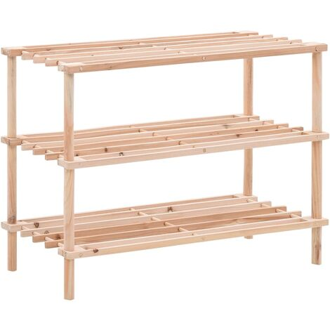 3-Tier Shoe Rack Solid Fir Wood
