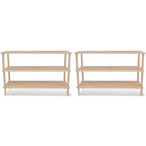 3-Tier Shoe Racks 2 pcs Solid Fir Wood