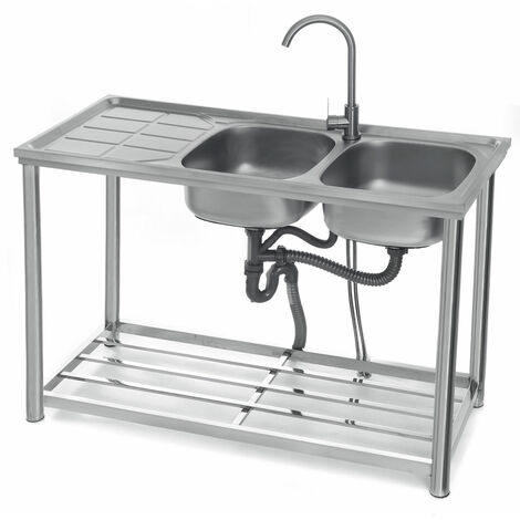 3-Tier Sink Rack Organizer Storage Kitchen Shelf Holder + Double Washing Basin