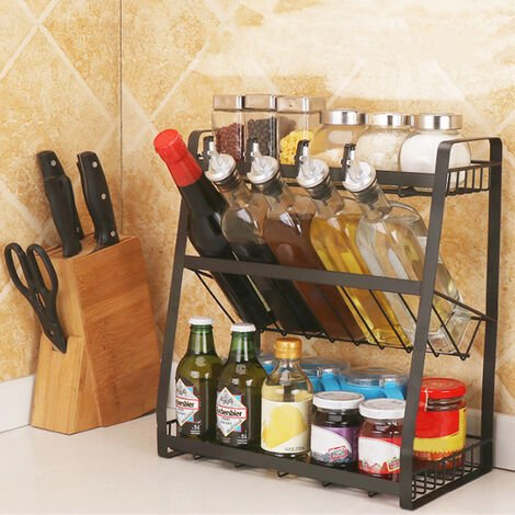 3 Tier Spice Jar Can Bottle Holder Kitchen Countertop Organiser Storage Rack