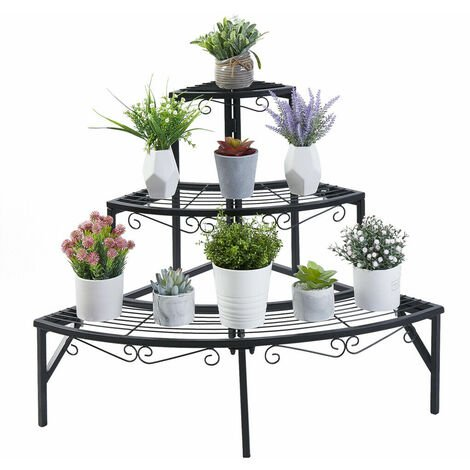 3 Tier Stair Style Metal Plant Stand Garden Shelf Large Flower Pot Display Rack