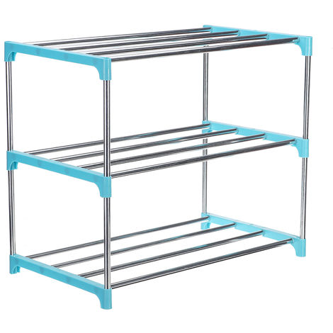 3 Tier Steel Shoe Rack 47Cm X 26Cm X 38Cm Blue