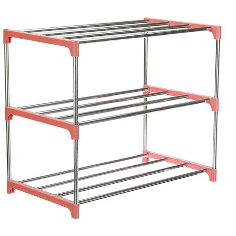 3 Tier Steel Shoe Rack 47Cm X 26Cm X 38Cm Pink