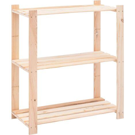 3-Tier Storage Rack 80x38x90 cm Solid Pinewood 150 kg