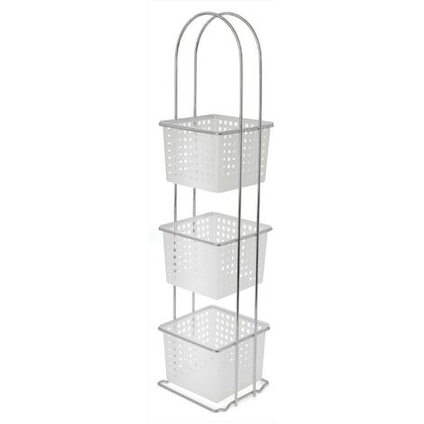 3 Tier Storage Rack & Baskets - White & Chrome