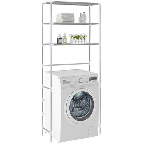 3-Tier Storage Rack over Laundry Machine Silver 69x28x169 cm