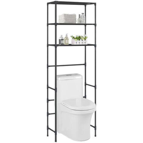 3-Tier Storage Rack over Toilet Black 53x28x169 cm