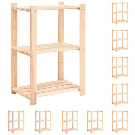 3-Tier Storage Racks 10 pcs 60x38x90 cm Solid Pinewood 150 kg