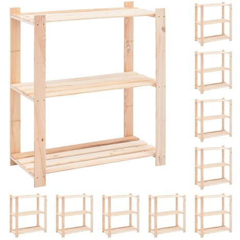 3-Tier Storage Racks 10 pcs 80x38x90 cm Solid Pinewood 150 kg