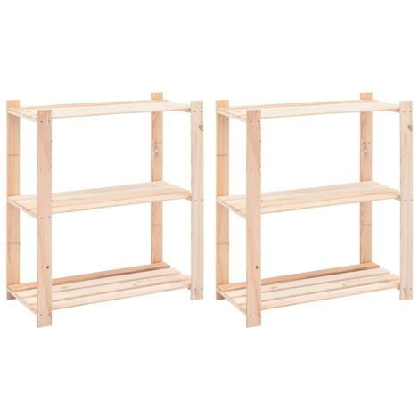 3-Tier Storage Racks 2 pcs 80x38x90 cm Solid Pinewood 150 kg