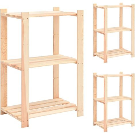 3-Tier Storage Racks 3 pcs 60x38x90 cm Solid Pinewood 150 kg