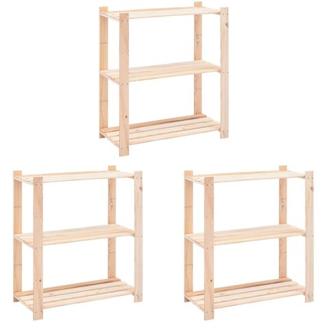 3-Tier Storage Racks 3 pcs 80x38x90 cm Solid Pinewood 150 kg