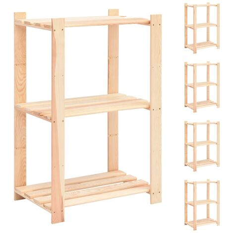 3-Tier Storage Racks 5 pcs 60x38x90 cm Solid Pinewood 150 kg