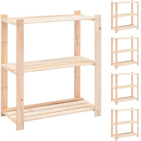 3-Tier Storage Racks 5 pcs 80x38x90 cm Solid Pinewood 150 kg