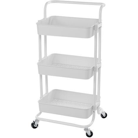 3-Tier Storage Rolling Trolley Cart 87*36.5*42cm White Storage Shelf 4 Wheels Bathroom Kitchen