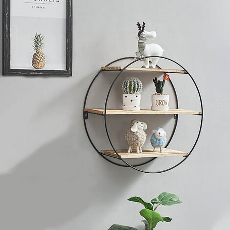 3 Tier Storage Shelf Retro Wall Mounted Floating Display Shelving Rack