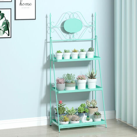 3 Tier Tray Design Metal Plant Stand Tidy Flower Pots Rack for Garden Home Decor
