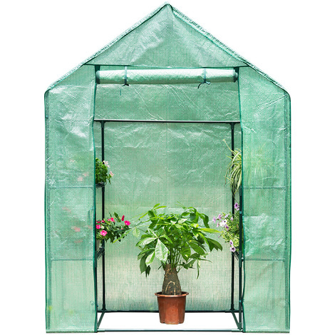3-Tier Walk-In Greenhouse with 4 Mesh Shelves PE Cover for Indoor Outdoor Herb Flower Garden Balcony, Portable, 56W x 30D x 76H