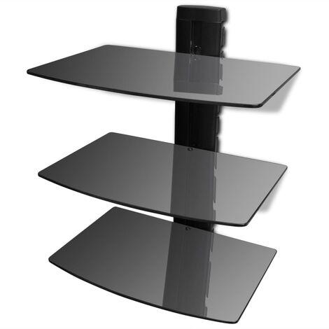 3-tier Wall Mounted Glass DVD Shelf Black - Black