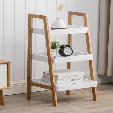 3 Tier Wood Ladder Shelving Storage Bookshelf Display Stand