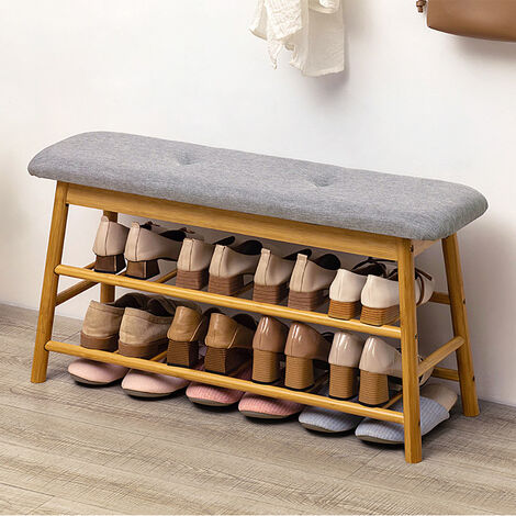3 Tier Wooden Bench Shoe Rack Stand Storage Upholstered Seat