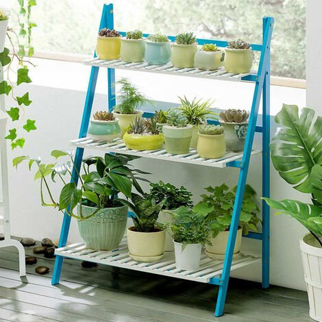 3 Tier Wooden Flower Plant Pot Shelf Ladder Display Stand