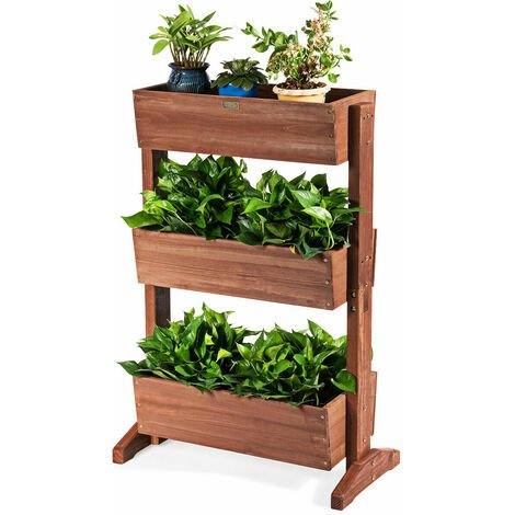 3 Tier Wooden Flower Rack Garden Plant Pot Stand Adjustable Shelf Indoor Outdoor