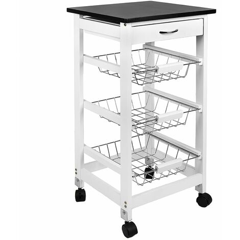 3 Tier Wooden Kitchen Trolley, White