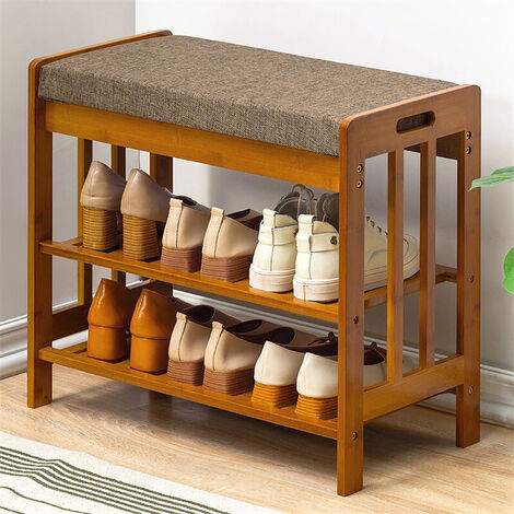 3 Tier Wooden Shoe Bench Rack Storage Shelf with Padded Seater