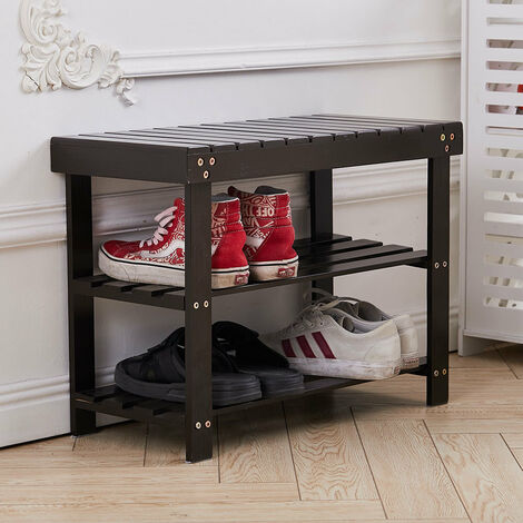 3 Tier Wooden Shoe Rack Hallway Bench Storage Shelf Seat