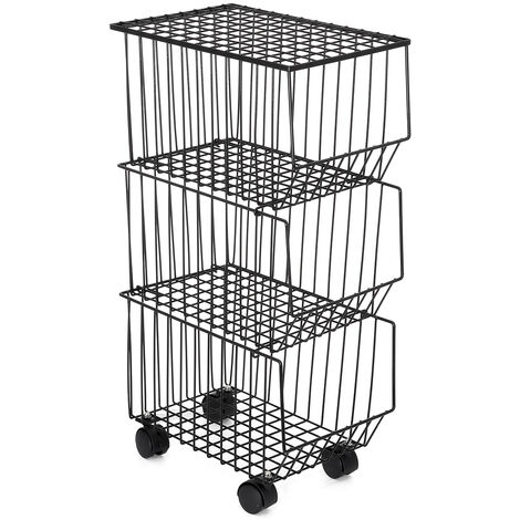 3 Tiers Rolling Cart Fruit Storage Trolley On Wheels Stainless Steel Storage Box Coffee 27*40*76cm